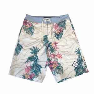 American Eagle Tropical Swim Shorts Blue White XS